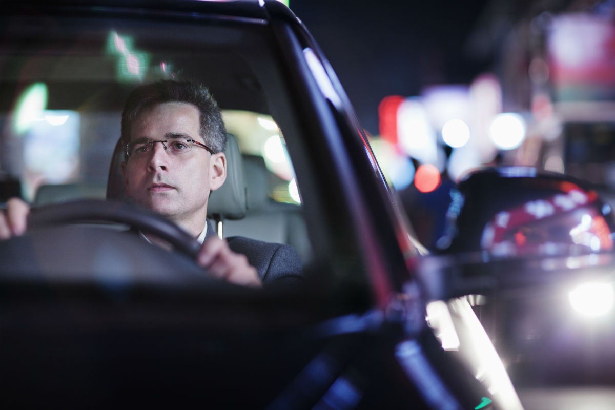 distracted driver at night in St. Louis