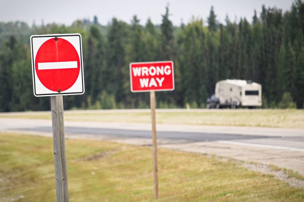 wrongway sign