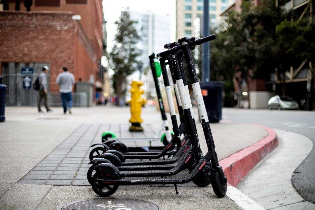 electric scooters on street in st. louis