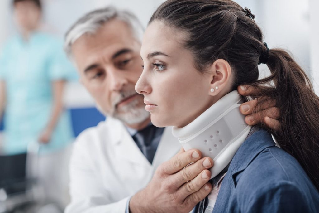 woman with neck fracture after a car accident