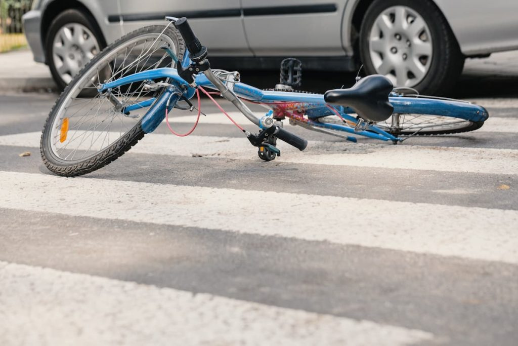 bike on the street involved in an accident